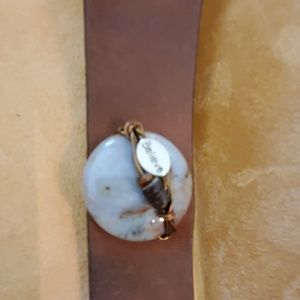 Jewelry - Wide leather bracelet with circle opaque stone and
